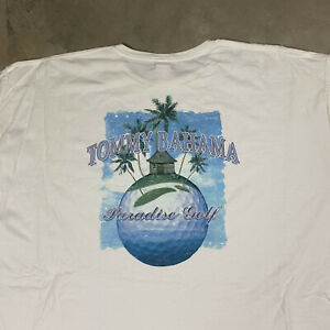 TOMMY BAHAMA XXL PARADISE GOLF T Shirt Made in USA VTG Tropical Beach Men's