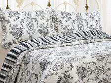 REVERSIBLE COTTON ELEGANT BLACK GREY STRIPE ANTIQUE VINTAGE SCROLL QUILT SET NEW