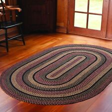 "IHF Home Decor Braided Area Rug Oval 22"" x 72"" Jute Blackberry Design"