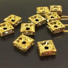 50 x GOLD SQUARE  SPACER  RHINESTONE BEADS