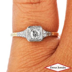 Vintage Diamond 14K Gold Elegant Two Tone Engagement Ring NR