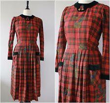 Vintage 1980s Austrian Red Checked Velvet Folk Festive Wool Button Back Dress 12