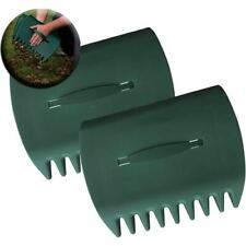 2 x Garden Leaf Grabber Hand Rakes Handheld Grass Leaves Waste Rubbish Collector