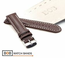 - BOB ECHTLEDERUHRBAND DUNKELBRAUN Kompatibel mit Breitling Fliegeruhr 24-20 mm
