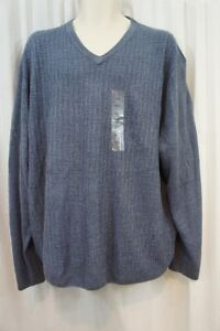 WP Weatherproof Mens Sweater Sz XL Denim Marl Blue V Neck Acrylic Casual Sweater