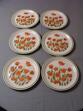 6 Meadowbrook Stoneware Dinner Plates With Tulip Pattern & Green Border, Japan
