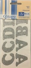 IRON ON SILVER GLITTER LETTERS x 1 PACK - 40 LETTERS