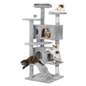 139cm Tall Cat Tree Tower, Kitten Tree Condo w/Fur Ball & Scratching Posts