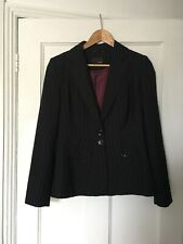 Next Size UK 12 12R Black Pinstripe Suit Jacket.   (j13)