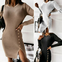 Women Mini Dress Tight Knitted Long Sleeve Bodycon Sexy Solid Color Dress Split