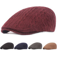 Men Winter Warm Knitted Driving Cabbie Golf Hat Adjustable Newsboy Beret Cap