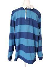 L.L. Bean Men's Rugby Shirt Blue Striped Traditional Fit 100% Cotton Size XL