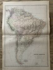 1884 SOUTH AMERICA LARGE COLOURED ANTIQUE MAP BY W.G. BLACKIE