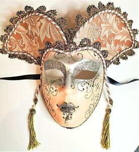 Mardi Gras Jester Masquerade Carnival Mask with Gold Sparkly Trim Wall Hanging