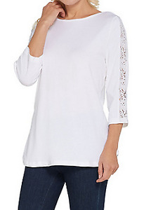 Boat Neck 3/4 Sleeve w/ Lace Detail Curved Hem Top