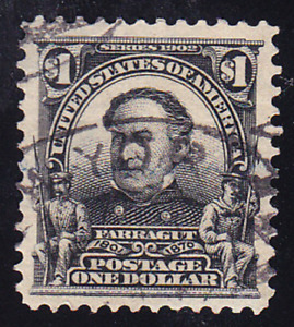 US Scott 311 old $1 David Farragut regular issue U/VF CV $90