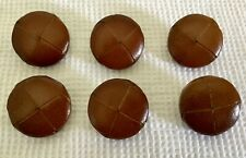 lot 6 Vintage leather football button Cognac Marron Color 26 mm NEW OLD STOCK!!