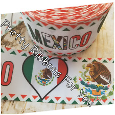 """Mexico 3""""  grosgrain ribbon the listing is for 2 yards"""