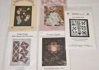Lot of 5 Quilt Quilting Patterns  - Frosty Lights - Hang Up Stockings - Etc