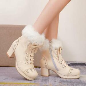 Women Ankle Boots Bowknot Winter Warm Fur Trim Block High Heel Side Zipper Shoes