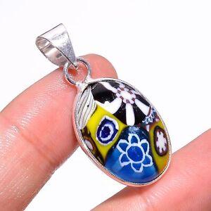 "Dichroic Glass Gemstone   925 Sterling Silver Pendant 1.5""_89"