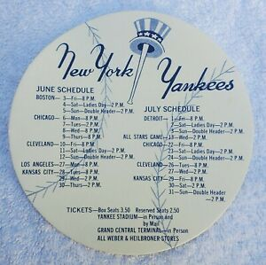 """Authentic Vtg 1960s New York Yankees Baseball Shaped June/July Schedule 5"""" MLB"""