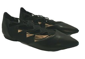 G.C. Shoes Womens Black Ballet Flats Shoes Pointed Toe Faux Leather Size 7