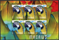Tuvalu Birds on Stamps 2014 MNH Macaws Parrots 6v M/S II