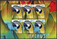 Tuvalu 2014 MNH Macaws 6v M/S II Birds Parrots Stamps