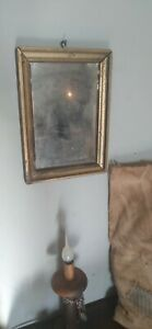 """Best Antique Early Handmade Wood Frame Glass Mirror Orig Gold Paint Sq.Nails 10"""""""