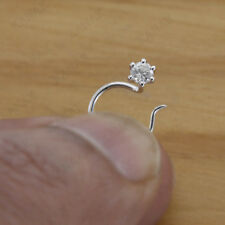 Natural Diamond 14k White Gold Solitaire Nose Pin Ring