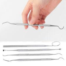 4x Stainless Steel Dental Set Dentist Teeth Oral Clean Kit Probe Tweezers Tools