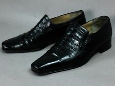 ARTIOLI Black Crocodile Combo Leather Men's Loafer Shoes Authentic Italy Size 8