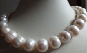 HUGE 10-11MM NATURAL WHITE FRESHWATER CULTURED PEARL NECKLACE 18 INCHES