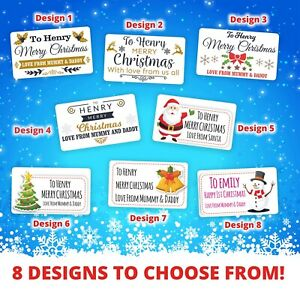 Personalised Christmas Stickers Gift Tag Labels Present Delivery From Santa x 21