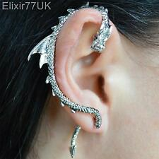 NEW SILVER DRAGON SNAKE EAR CUFF CLIP WRAP LURE STUD EARRING GOTHIC PUNK GIFT UK