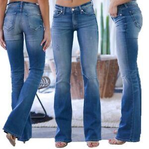 Women Mid Waist Jeans Pocket Hole Stretch Button Bell-Bottom Denim Long Pants