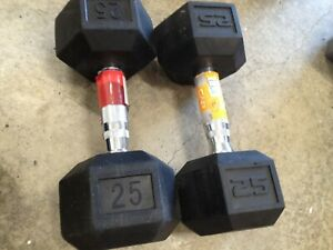 2x 25LB PAIR OF RUBBER COATED HEX DUMBBELLS WEIGHTS Set 50lbs FREE SHIPPING