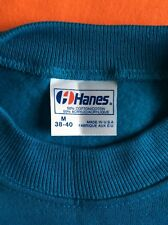 Vtg 80s Hanes Plain Turquoise Raglan Sweatshirt M Blank 50/50 Cotton Acrylic