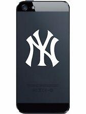 2 (PAIR) New York YANKEES Vinyl Smart Phone Decal Laptop White Chrome STICKER