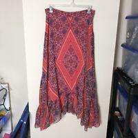 Anthropologie Ranna Gill Women's Size L Floral Geometric Maxi Skirt Cottagecore