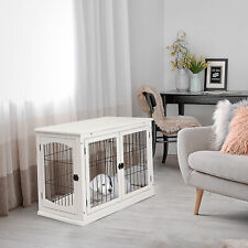 More details for pawhut modern pet cage metal wire 3 doors w/ latches white 81l x 58.5w x 66h cm