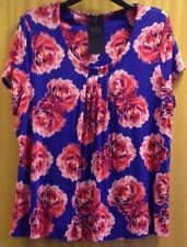 Ladies sz 20 M&S Collection Blue Floral Top with Cap Sleeves BNWT