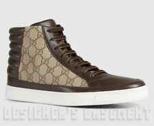 24f87fdf662 GUCCI Men 7G beige GG supreme Brown leather COMMON High Top sneakers NIB  Authent