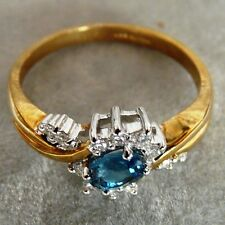 ** NEW ** 9ct Gold Topaz Diamond Cluster Ring Size P1/2 8
