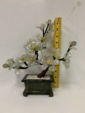 Oriental Asian Chinese Carved Jade Flower Tree Arrangment Hand Made