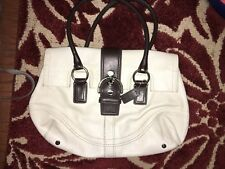 COACH Handbag/Purse Pre-owned White Leather Satchel with Brown Handles