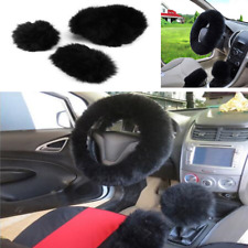 Black Long Plush Wool Warm Steering Wheel Cover Woolen Auto Car Grips Accessory