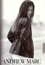 1996 Andrew Marc Leather Jacket Sexy Model Black & White Vintage Print Ad 1990s
