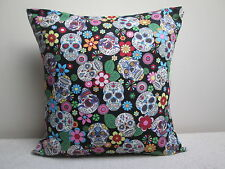 """Mexican Sugar Skulls Day Of The Dead Gothic Tattoo Cushion Cover black 16"""""""